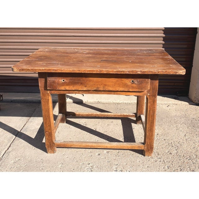 Rustic French Fruitwood Table With Stretchers For Sale - Image 4 of 13