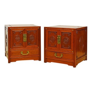 George Zee Mid-Century Chinese Ming Style Solid Mahogany End Tables - a Pair For Sale