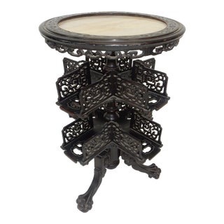 Antique Chinese Export Ebonized Rosewood Revolving Onxy Top Table Circa 1850 For Sale