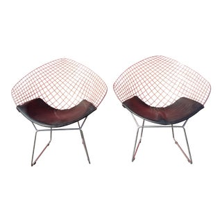 Harry Bertoia Diamond Back for Knoll Lounge Chairs - A Pair For Sale