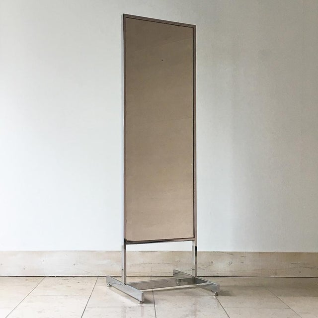 Chrome Framed Floor Standing Mirror 1970s For Sale - Image 6 of 6