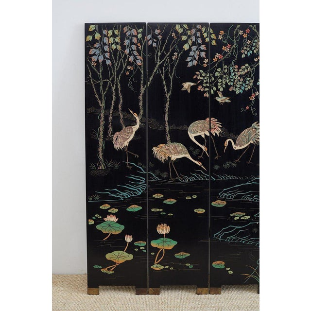Asian Chinese Four-Panel Coromandel Screen of Cranes For Sale - Image 3 of 13