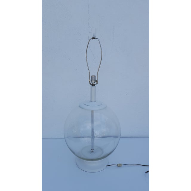 60\'s Vintage Clear Glass White Base Painted Table Lamp | Chairish