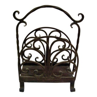 Old Heavy Cast Iron Log/Magazine Rack For Sale