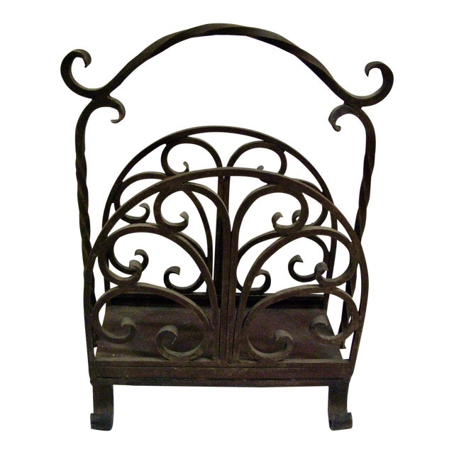 Old Heavy Cast Iron Log/Magazine Rack For Sale