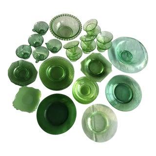 Cambridge Glass Company Green Glass Dinnerware-Set of 49 For Sale