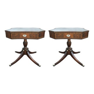 Silver Leather Top Pedestal End Tables - a Pair For Sale