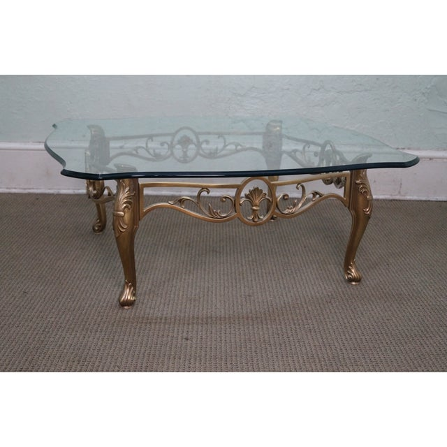 Vintage Brass & Glass French Louis XV Coffee Table - Image 2 of 10