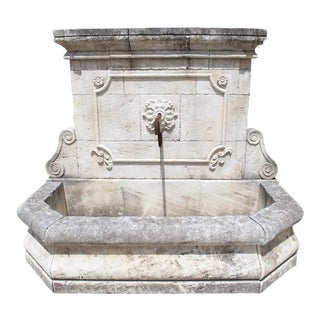 Large Carved Stone Wall Fountain From the South of France For Sale
