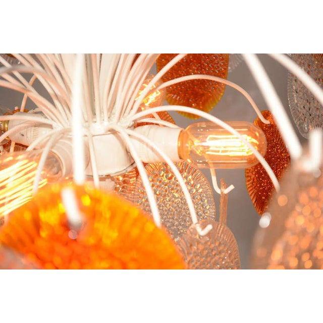 Art Glass Feders Orange Hanging Chandelier For Sale - Image 7 of 8