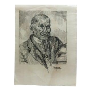 """1950s Vintage """"Distinguished Black Gentleman"""" Tom Sturges Jr. Drawing For Sale"""