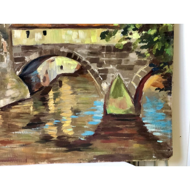Impressionist Oil Painting of a Continental Townscape For Sale - Image 4 of 12