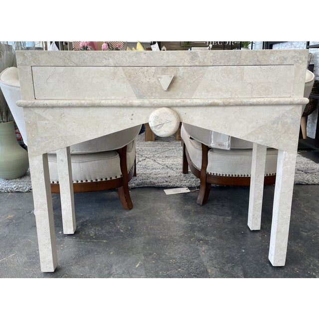 1990s Art Deco - Post Modern Limestone Console Table For Sale - Image 5 of 5