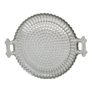 Vintage Jeannette Clear Glass Small Round Hobnail Serving Tray With Side Handles For Sale