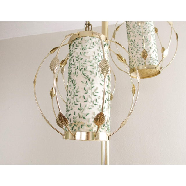 Metal Vintage Mid-Century Gold Tension Pole Lamp For Sale - Image 7 of 9