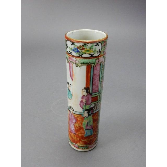 Antique Chinese Export Rose Medallion Cylinder Vase - Image 3 of 11