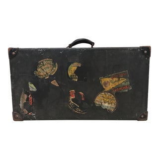 Antique Travel Suitcase With Travel Stickers For Sale