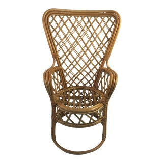 1960s Boho Chic Fan Back Rattan Chair For Sale