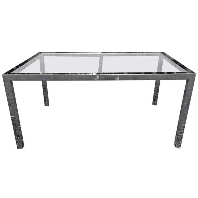 Milo Baughman Chrome& Glass Dining Table - Image 2 of 8