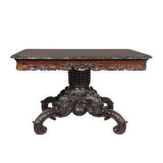 Wonderfully Carved Italian Walnut Center Table For Sale