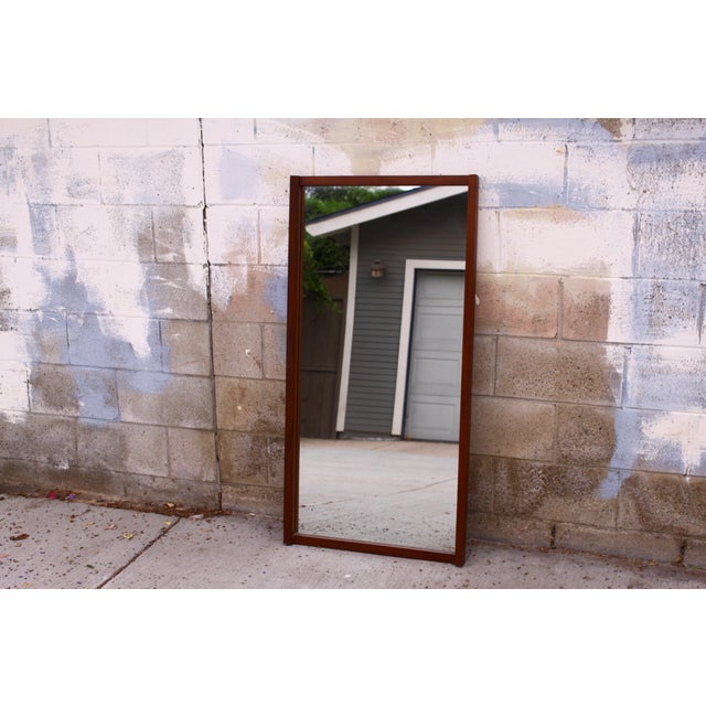 Large Danish Teak Mid Century Wall Mirror For Sale - Image 11 of 11