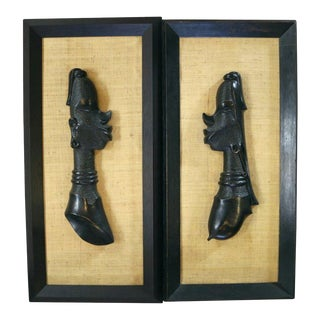 Central African Bust Wall Sculptures 'Male and Female' For Sale