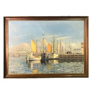 Early 20th Century Danish Harbor Scene Nautical Oil Painting by Arup Jensen, Framed For Sale