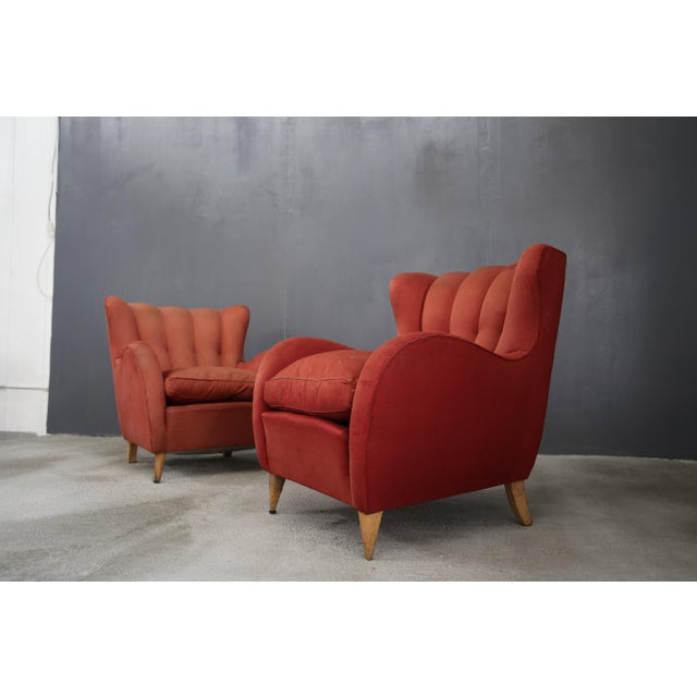 Pair 40s Armchairs Attributed to Gio Ponti For Sale - Image 6 of 7