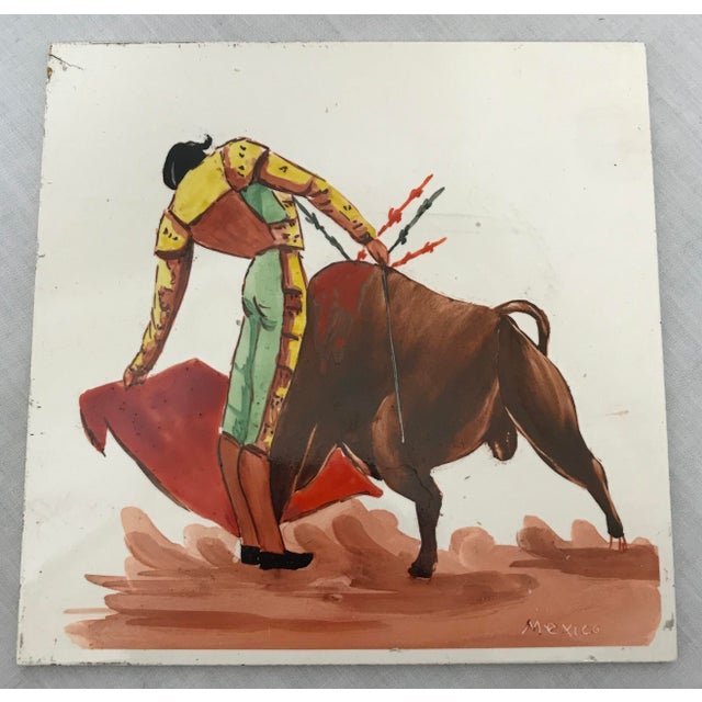 Mid 20th Century Mid 20th Century Torero & Bull Ceramic Tiles - Set of 6 For Sale - Image 5 of 8