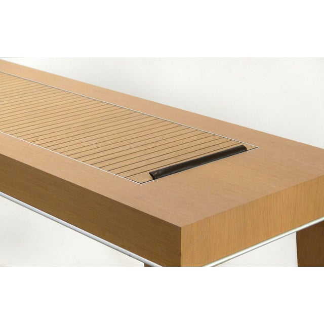 Tan Mobilidea Console With Rolling Tambour Blind on Top, Italy For Sale - Image 8 of 11