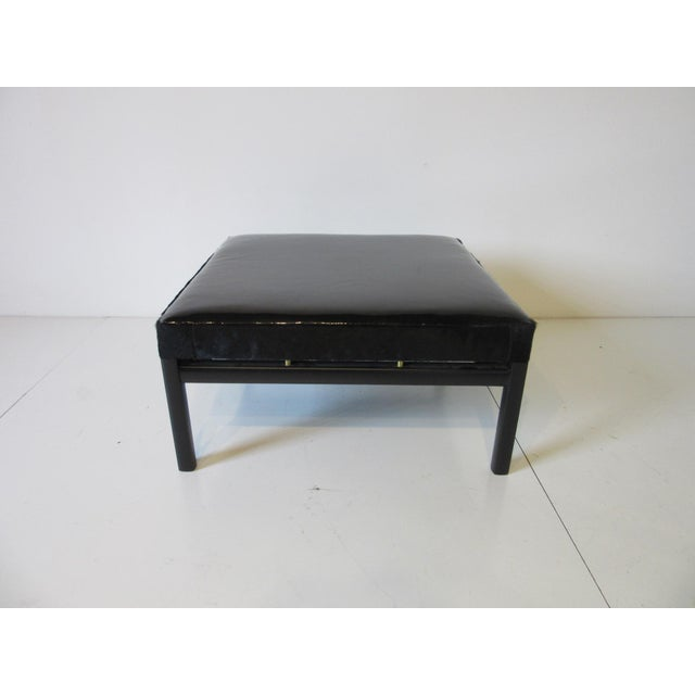 Mid Century Michael Taylor Baker Patent Leather and Pony Hide Ottoman For Sale - Image 9 of 11
