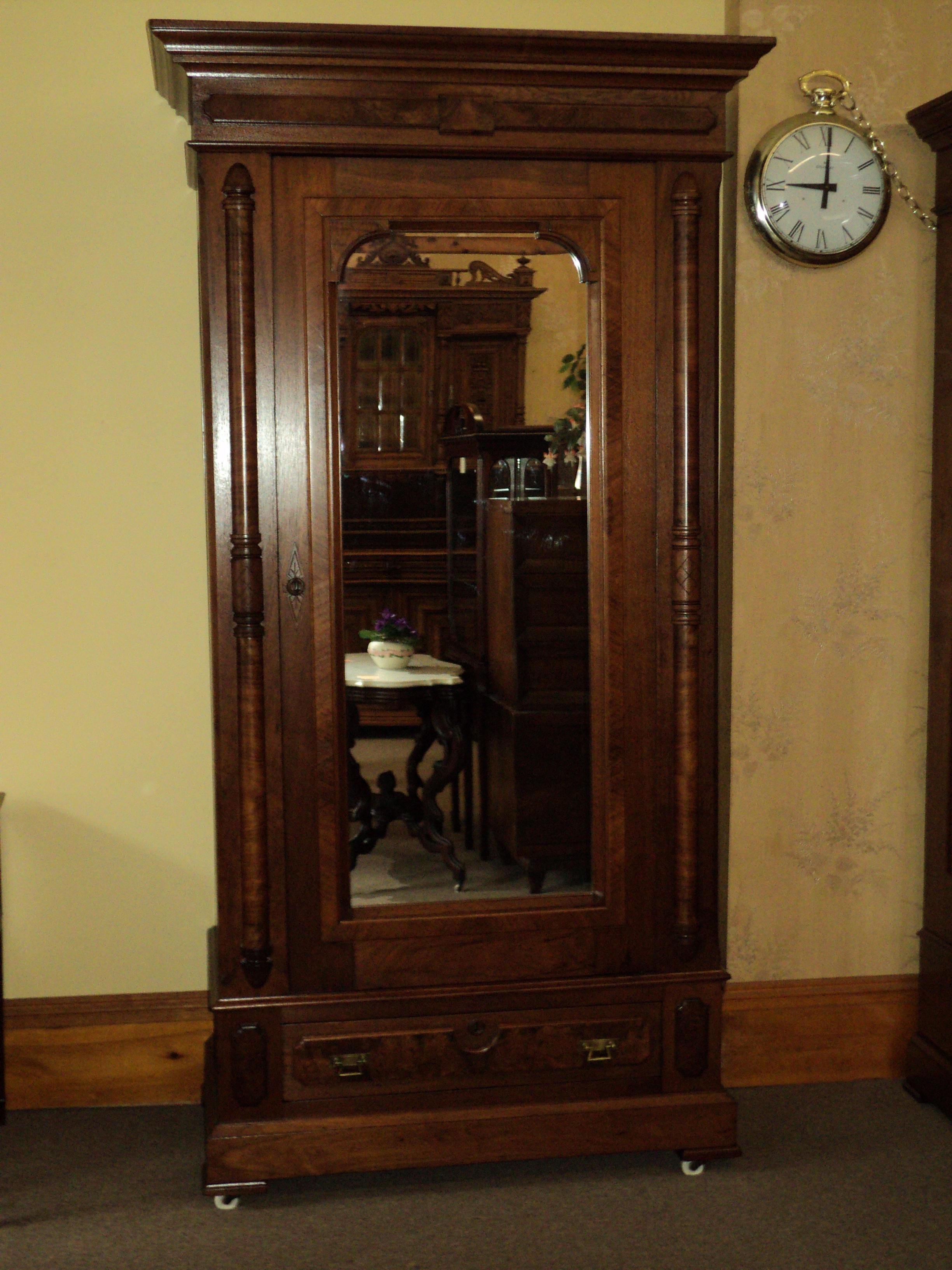 Antique Walnut Eastlake Victorian Armoire   Image 2 Of 8