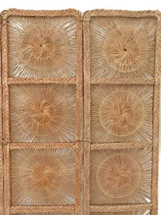 Mid Century Modern Rattan Folding Screen 3 Panel Room Divider Boho