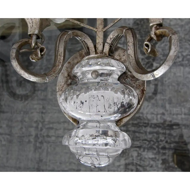 Banci Crystal Silver Gilt Flower Wall Sconces - a Pair For Sale - Image 9 of 13