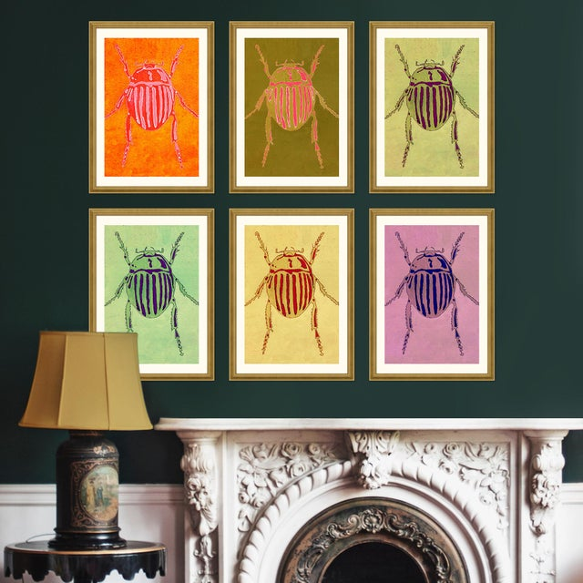 Not Yet Made - Made To Order Striped Beetle Set of 6 by Jessica Molnar in Gold Frame, Medium Art Print For Sale - Image 5 of 9