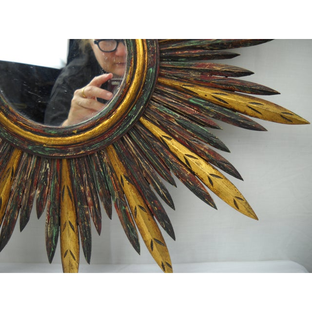 French Carved Wood Starburst Mirror For Sale In Orlando - Image 6 of 8