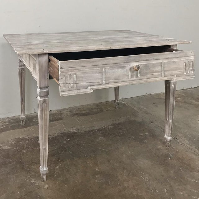 19th Century Country French Louis XVI Whitewashed End Table - Writing Table For Sale - Image 9 of 13