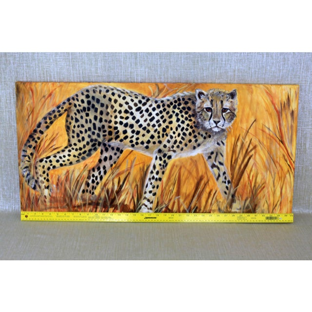 """36"""" Original Cheetah Oil Painting by Gilian Levy For Sale In Tampa - Image 6 of 8"""