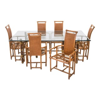 Bamboo Dining Table Chairs Set, Mcguire For Sale