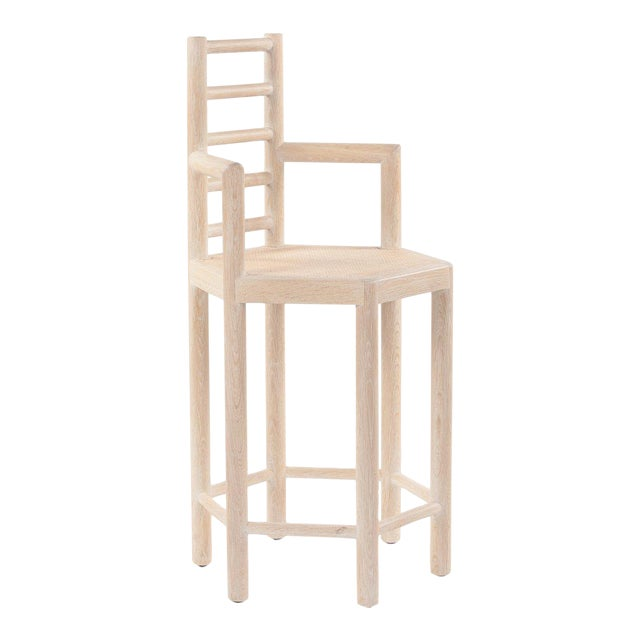 Tamarisk Counter Stool in Whitewashed Oak For Sale