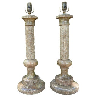 Italian Faux Bois Marble Lamps, a Pair For Sale