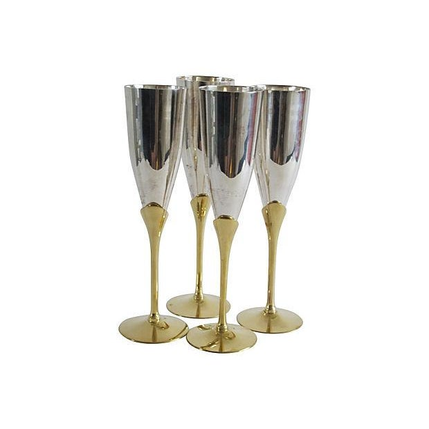 Silver & Brass Champagne Flutes - Set of 4 - Image 3 of 4