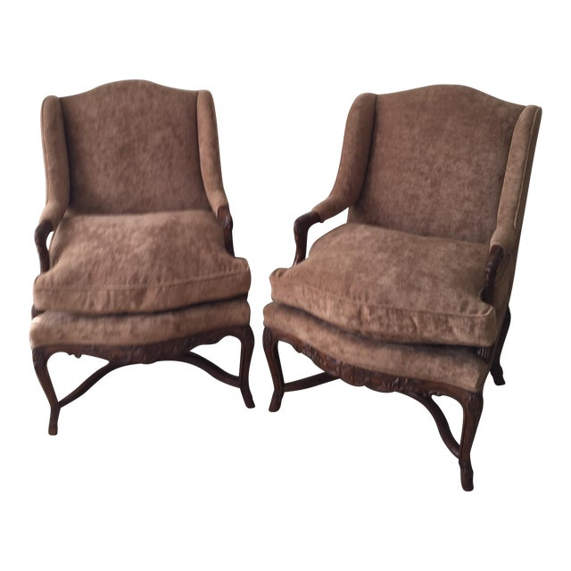 Provence Wing Chairs - A Pair - Image 1 of 4