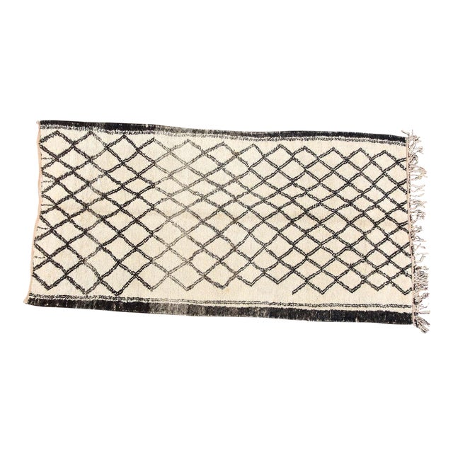 Vintage Moroccan Beni Ouarain White Rug For Sale