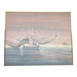 Mid Century Fishing Trawler Painting by Lee Reynolds For Sale