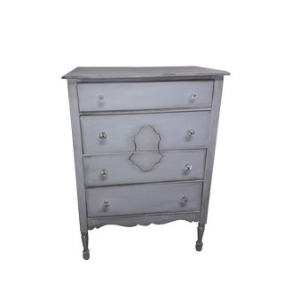 Vintage Cottage French Blue Gray Dresser For Sale