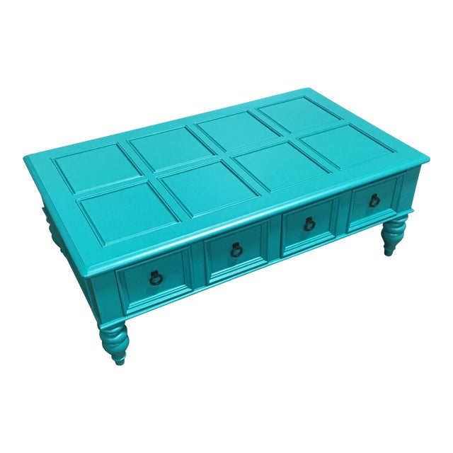 Custom Turquoise Cocktail Table by Bassett - Image 1 of 5