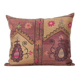 Vintage Bohemian Silk & Cotton Embroidered Pillow Cover For Sale