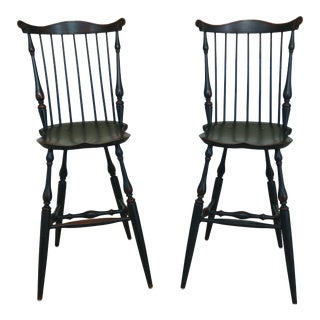 Windsor Style Fan Back Windsor Bar or Counter Chairs - a Pair For Sale