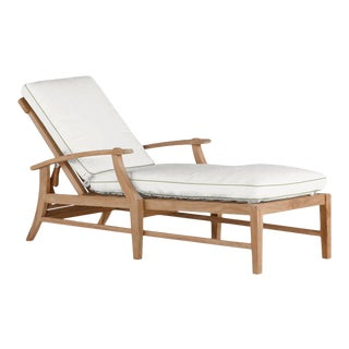 Summer Classics Croquet Chaise Lounge Without Wheel in Linen Snow with Wasabi Welt For Sale